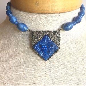 Vintage Necklace Art Nouveau Blue Glass Beads
